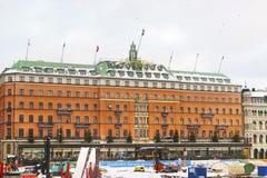 Großartiges Hotel im Winter Gamla Stan von Stockholm Lizenzfreies Stockbild