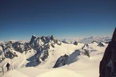 Großartiges Jorasses und freeriders, extremer Ski, Aiguille du Midi, französische Alpen stockbilder