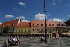 Großartiges Quadrat in Sibiu, Rumänien Lizenzfreies Stockfoto