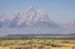 Großartiges Teton, das über Nebel, Feld und Bäume steigt Lizenzfreie Stockbilder