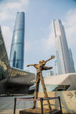 Großartiges Theater Guangzhou-Markstein Guangzhous Blaues Glasvorhangfeld, ein einzigartiger Auftritt des Theaters Stockfoto