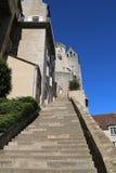 Großartiges Treppenhaus in Richtung zur episkopalen Stadt in Rocamadour, Frankreich. Lizenzfreie Stockbilder