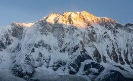 Großaufnahme von Annapurna 1 Gipfel gegen klaren blauen Himmel während der goldenen Stunde des Sonnenaufgangs, Nepal lizenzfreie stockbilder