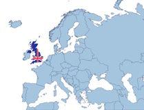 Großbritannien auf Europa-Karte Stockfotografie
