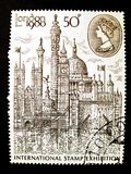 Großbritannien, circa 1980: internationale Stempelausstellung Lizenzfreie Stockbilder