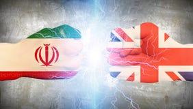 Großbritannien gegen den Iran Lizenzfreie Stockbilder
