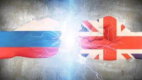 Großbritannien gegen Russland Stockfotografie
