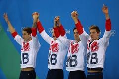Großbritannien-Männer ` s 4x100m Gemischstaffel Chris Walker-Hebborn, Adam Peaty, James Guy, Duncan Scott während der Medaillenze Stockfotos