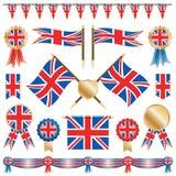 Großbritannien-Markierungsfahnen und Rosetten Stockbild