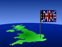 Großbritannien mit London-Markierungsfahne Lizenzfreie Stockfotografie