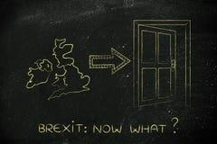 Großbritannien nahe bei einer Ausgangstür mit Pfeil, Brexit jetzt was Stockfotos