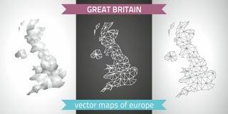 Großbritannien-Satz Grau und polygonale Karten des Silbermosaiks 3d Lizenzfreie Stockfotos