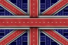 Großbritannien-Straßen-Markierungsfahne Stockfotos