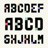 Großbuchstaben der Schablonen des Satz-1 von Blöcken mit Farbeinsätzen Stockfotos