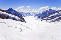 Große Aletsch Gletscher Jungfrau Region Lizenzfreie Stockbilder