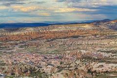 Große Ansicht über Goreme von Uchisar-Festung stockfotografie