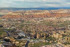 Große Ansicht über Goreme von Uchisar-Festung stockbilder