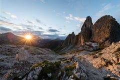 Große Ansicht der Spitzen-Strecke Cadini di Misurina im Nationalpark Tre Cime di Lavaredo Dolomit, Süd-Tirol Standort Auronzo, es Lizenzfreies Stockbild