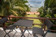 Große Ansicht vom terace zum tropila Strandgarten Stockfoto