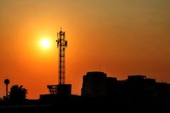 Große Antenne mit dem Sonnenuntergang stockbilder