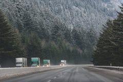 Große Autos, die auf Durchdurchgang nahe Wald gehen stockfoto