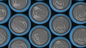 Große blaue Getränkedosen auf weißem Hintergrund Stockbilder