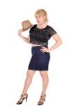 Große blonde Frau mit Hut Lizenzfreie Stockfotos