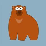 Große braune Grizzlybärkarikaturart auf einem blauen Hintergrund Stockbild