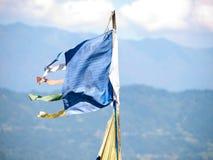 Große bunte Gebetsflaggen an altem Kapitol Rabdentse Sikkims Stockfoto