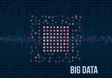 Große Daten-Algorithmen Analyse von Design Informationen Minimalistic Infographics Wissenschaft, Technologiehintergrund Vektor Lizenzfreie Stockfotos