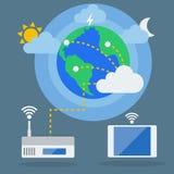 Große Daten, Datenverarbeitungskonzept der Wolke Flaches Design des Vektors Stockfoto