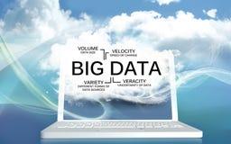 Große Daten die v auf einem Laptop mit Wolken lizenzfreie abbildung