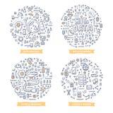 Große Daten-Gekritzel-Illustrationen stock abbildung