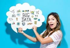 Große Daten simsen mit der jungen Frau, die eine Spracheblase hält Lizenzfreie Stockfotos