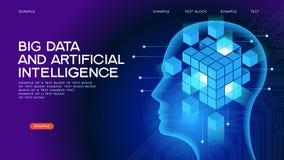 Große Daten UND künstliche Intelligenz Netz-Fahne lizenzfreie abbildung