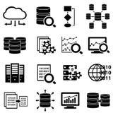 Große Daten und Technologieikonen Stockfoto
