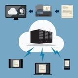 Große Daten Wolkendokumentenspeicher Stockbild