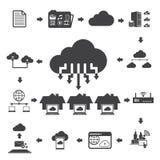 Große Datenikonen eingestellt, Wolkendatenverarbeitung Lizenzfreies Stockbild