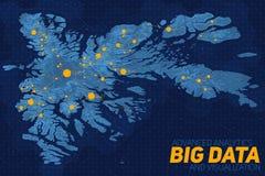 Große Datensichtbarmachung des Geländes Futuristische Karte infographic Komplexe topographische Datengraphiksichtbarmachung Stockbild