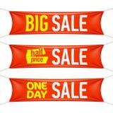 Große, des halben Preises und eintägigen Verkaufs Fahnen Stockfoto