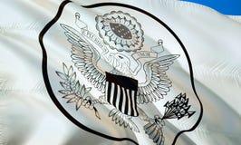 Große Dichtung vereinigt Zustandsflagge wellenartig bewegendes Design der Flagge 3D Das nationale Sonderzeichen von USA, Wiederga stock abbildung