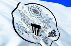 Große Dichtung vereinigt Zustandsflagge wellenartig bewegendes Design der Flagge 3D Das nationale Sonderzeichen von USA, Wiederga lizenzfreie abbildung