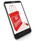 Große Einsparungens-Tasche stellt on-line-Rabatte und Reduzierungen in PR dar Stockbilder