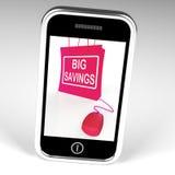Große Einsparungens-Tasche zeigt Online-Verkäufe und Rabatte an Lizenzfreie Stockfotografie