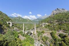 Große Eisenbahnbrücke und Viaduct in Korsika, Franc Lizenzfreies Stockbild
