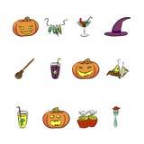 Große entworfene Halloween-Vektoren Stockbild