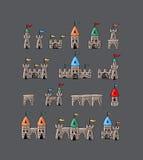 Große entworfene Karikatur Ägypten-Ikonen Stockfoto