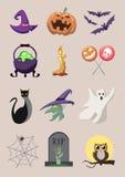 Große entworfene Karikaturvektoren für Halloween Lizenzfreies Stockfoto