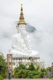 Große fünf sitzende Buddha-Statuen in einem Nebel, Thailand Lizenzfreies Stockbild