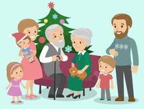 Große Familie feiert Weihnachten Fantastischer Baum Vektor Lizenzfreie Stockfotos